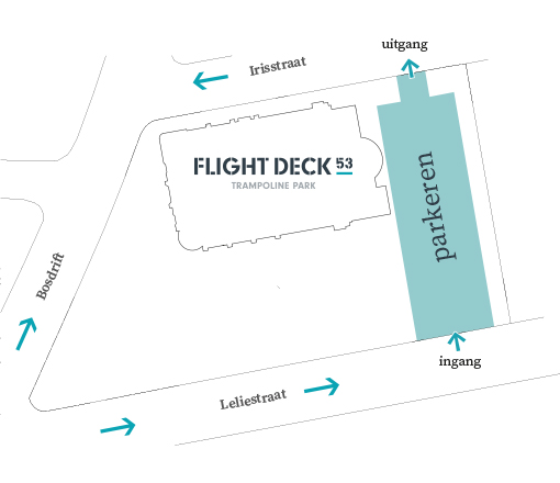 Plattegrond en parkeerterrein achter de Clemenskerk bij Flight Deck 53 trampolinepark in Hilversum